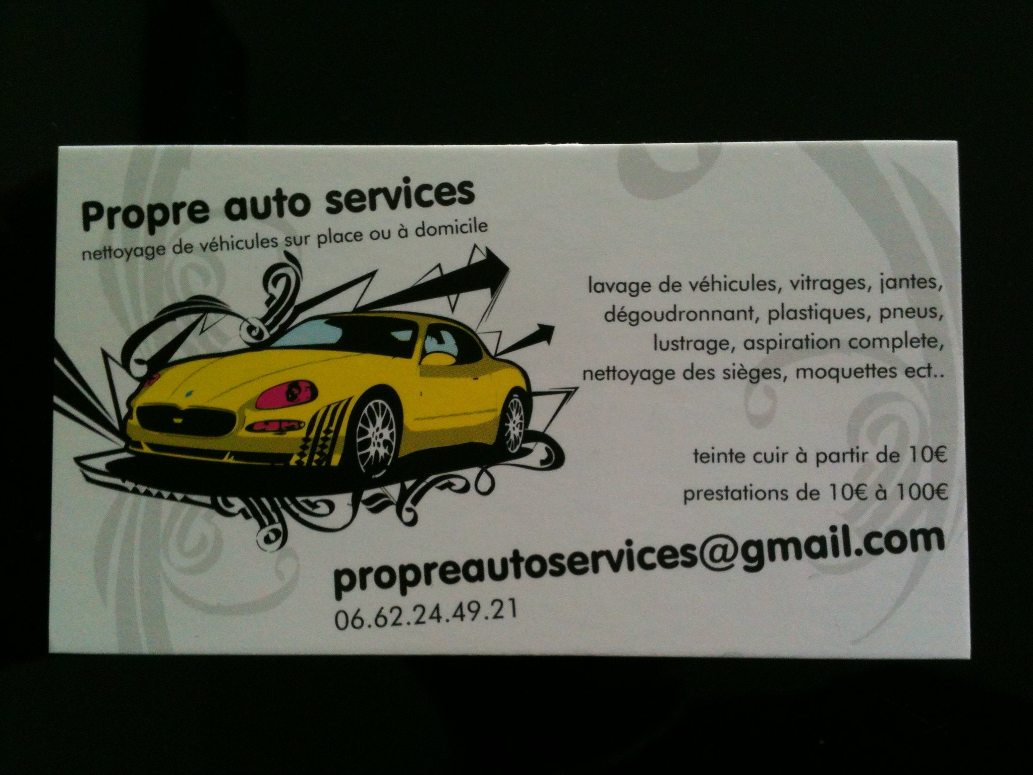 carte de visite propre auto services. Black Bedroom Furniture Sets. Home Design Ideas